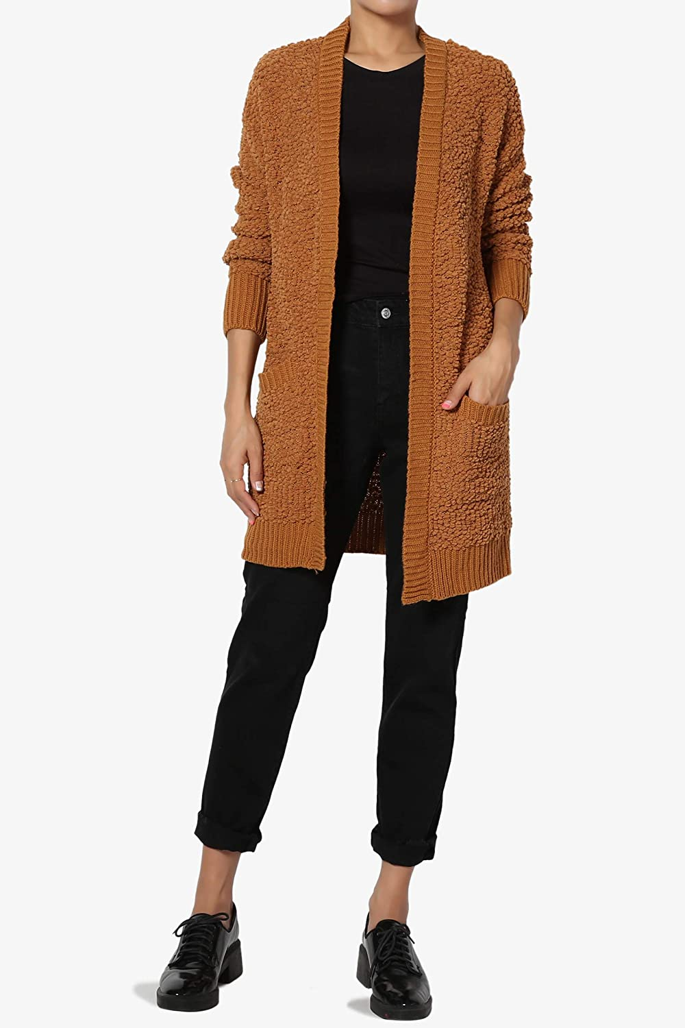 TheMogan S~3X Long Sleeve Pocket Open Front Knit Sweater Cardigan