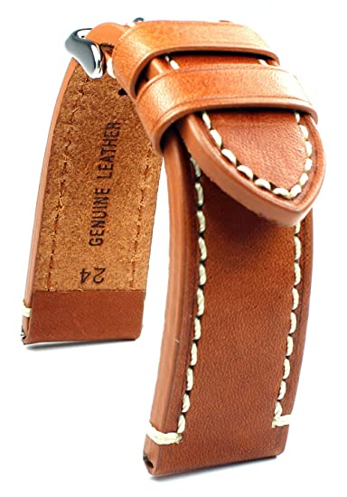 Piel de banda 24 mm banda catal onia Planeador Relojes Retro Strap Light Brown/marrón