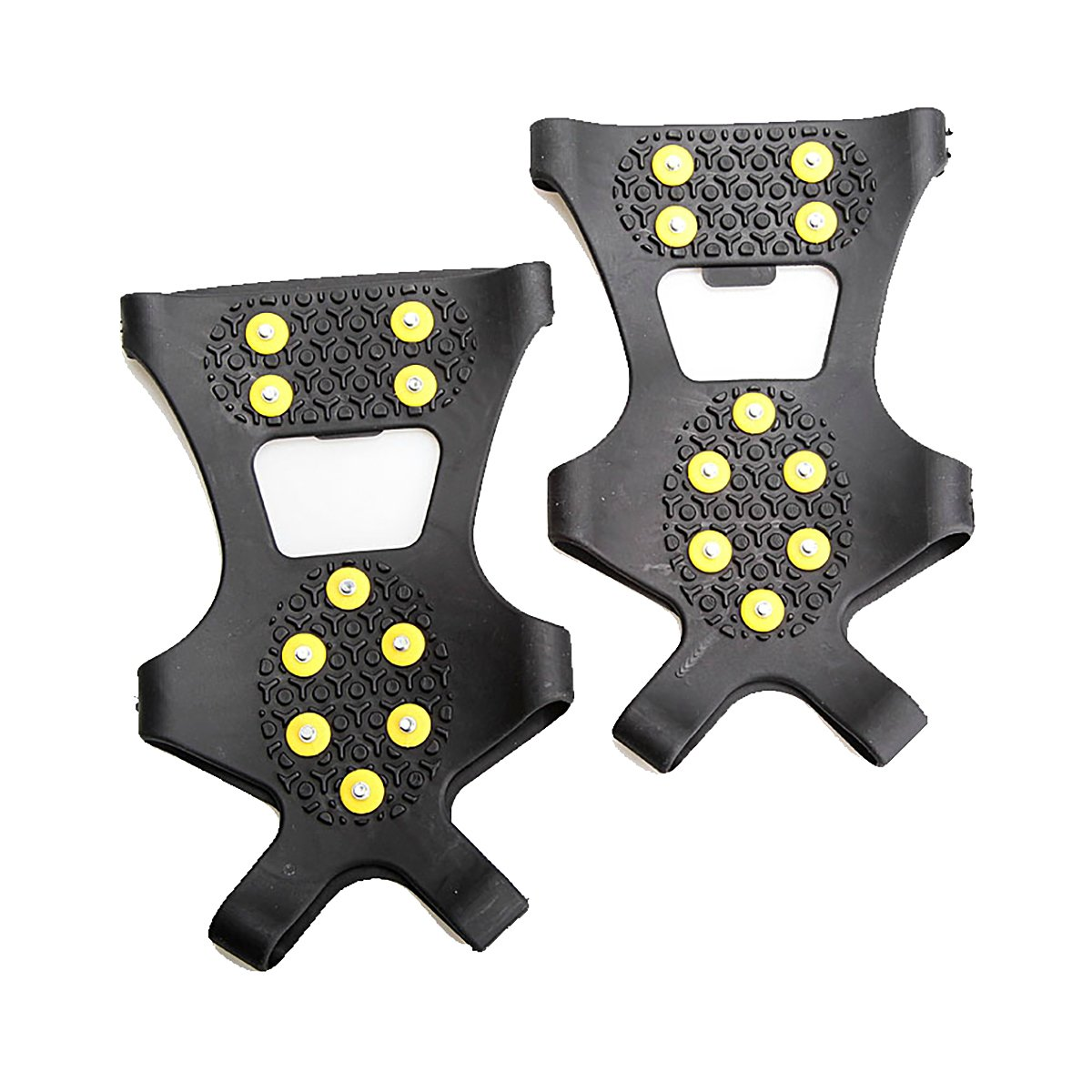 HooAMI Ice Grippers Traction Cleats Grippers, Non-slip Over Shoe/Boot Rubber Spikes Crampons with 10 Steel Studs Crampons Slip-on Stretch Footwear,Size M