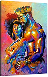 African American Canvas Art Print, Black Love King and Queen Wall Art Sexy Lover Paintings for Wall, Egyptian Crown Framed Poster Drawing for Master Bedroom Living Room Decor (24