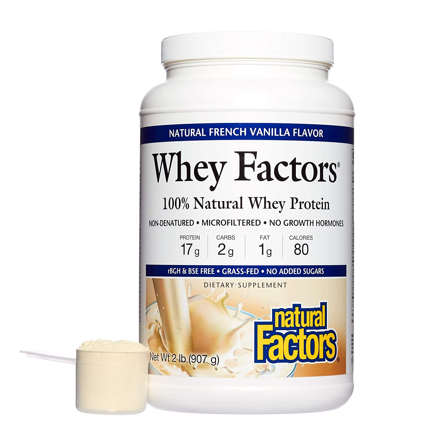 100% Natural Whey Protein - Whey Factors Natural French Vanilla 2 lbs: Amazon.es: Salud y cuidado personal