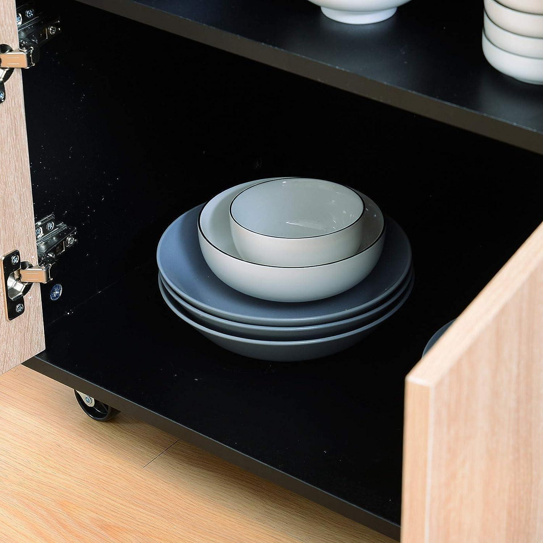benzoni Mobiletto Carrello da Cucina con Cassetti in Legno Rovere e Nero 76.5x40x82 cm