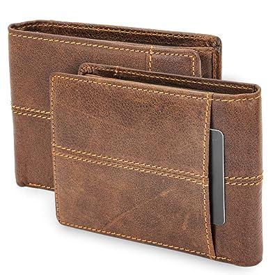 751153d770bf4b bluzelle Echt-Leder Brieftasche mit großem Sicherheitsfach - Kompakte  Herren Geldbörse Multi-Kartenhalter,