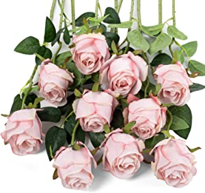 LuLuHouse Silk Rose Flower Artificial Roses with Long Stems for DIY Wedding Bouquets Centerpieces Bridal Shower Party Home Decor (Ligh Pink, 10)