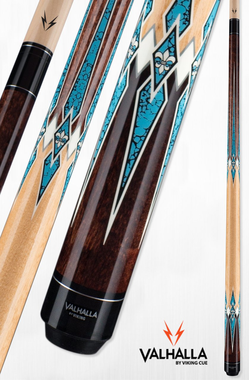 Valhalla by Viking VA891 Pool Cue Stick European Stain High Res Turquoise Points18, 18.5, 19, 19.5, 20, 20.5, 21 oz. (19)