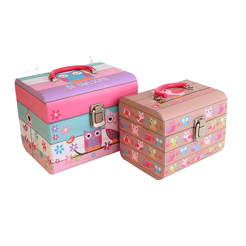 SET OF 2 OWL PINK STORAGE BOX GIRLS KEEPSAKE CHEST TRUNK TOYS ACCESSORIES  GIFT: Amazon.co.uk: Kitchen U0026 Home