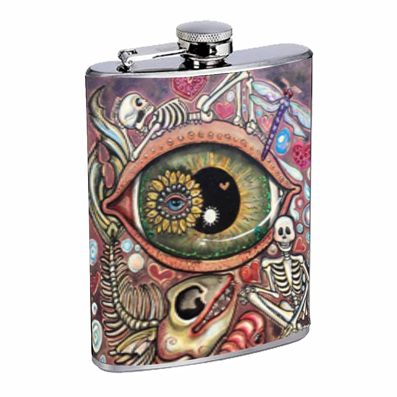 Have Fun Gifts Elegant Fine Touch Leak Proof Small Primo 18//8 Stainless Steel 8 OZ Flask with Personality Design with Octopus Skull Cat Trippy
