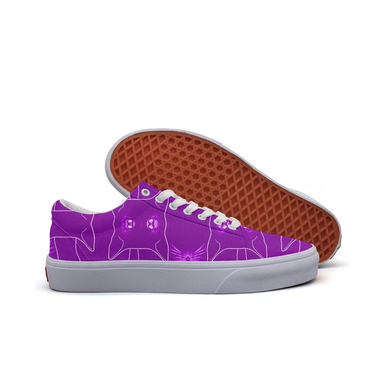 ceb2f5c99d20 Amazon.com  Cute Cat And Kitten Cartoon Purple Color Women Canvas Low Top  Skateboarding Shoes  Sports   Outdoors