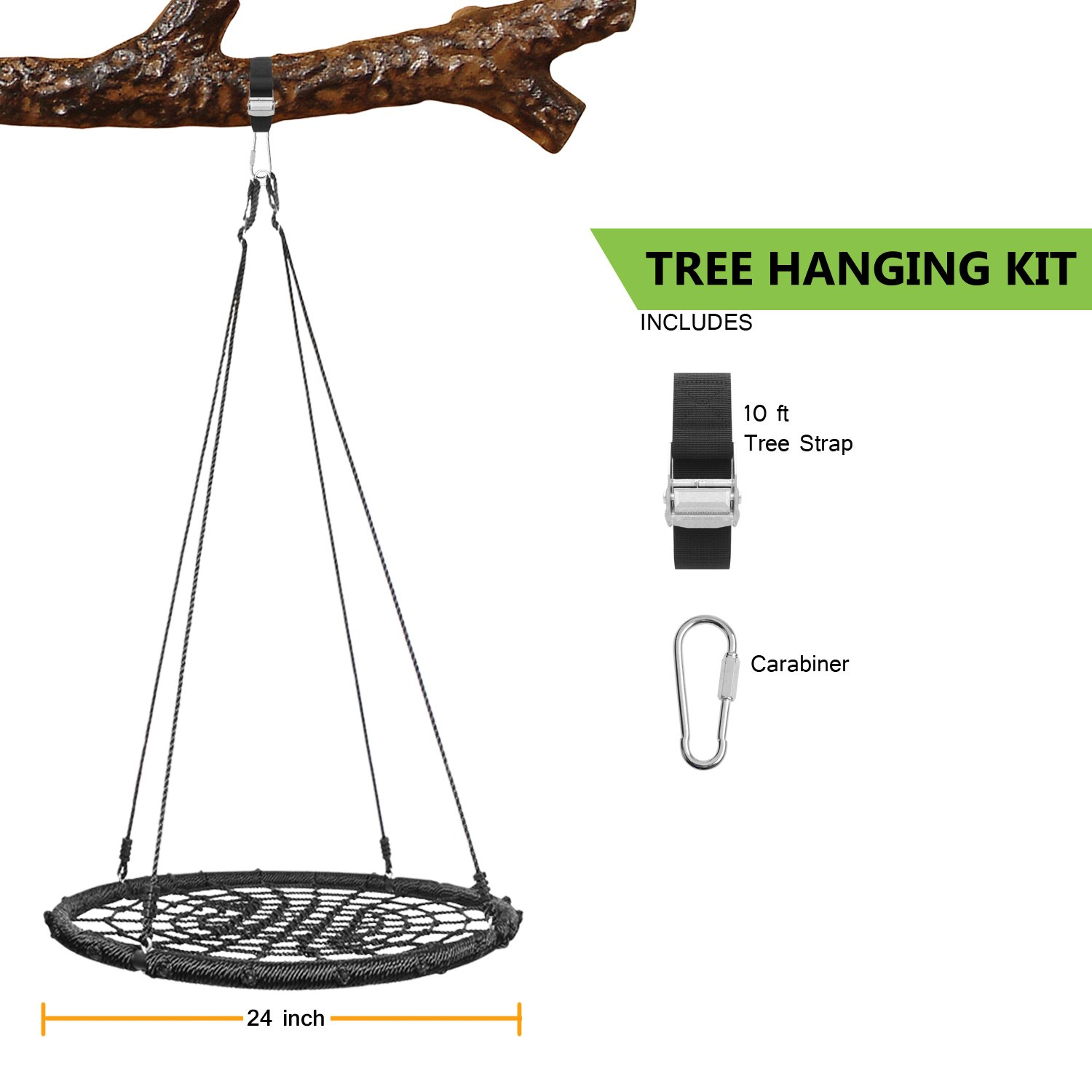 KHOMO GEAR Complete Set Includes Tree Swing Hanging Kit Extra Large 24 Diameter Swing /& Spin Set