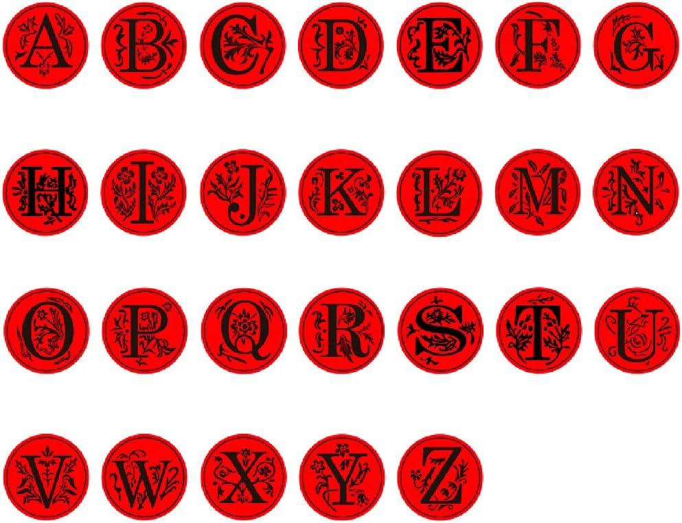 Buchstaben-Wachssiegelstempel-Set Retro-Siegelwachs-Siegelstempel-Set mit 4 farbigen Holzgriffen f/ür Buchstaben-Wachssiegelstempel Anbose Alphabet Initiale 26 Buchstaben A-Z