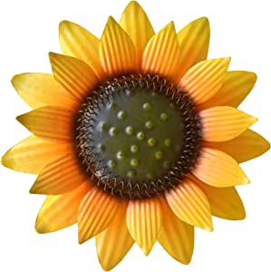 GIFTME 5 Metal Sunflower Wall Art Decor (12 Inch Yellow)