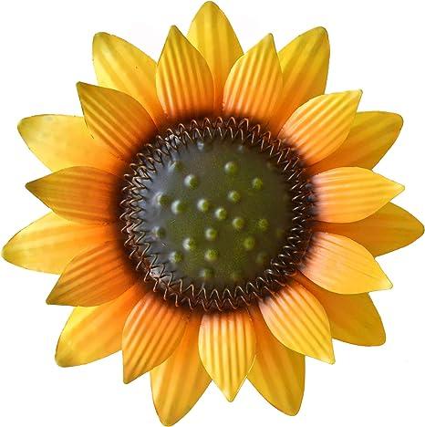 Amazon Com Giftme 5 Metal Sunflower Wall Art Decor 12 Inch Yellow Home Kitchen