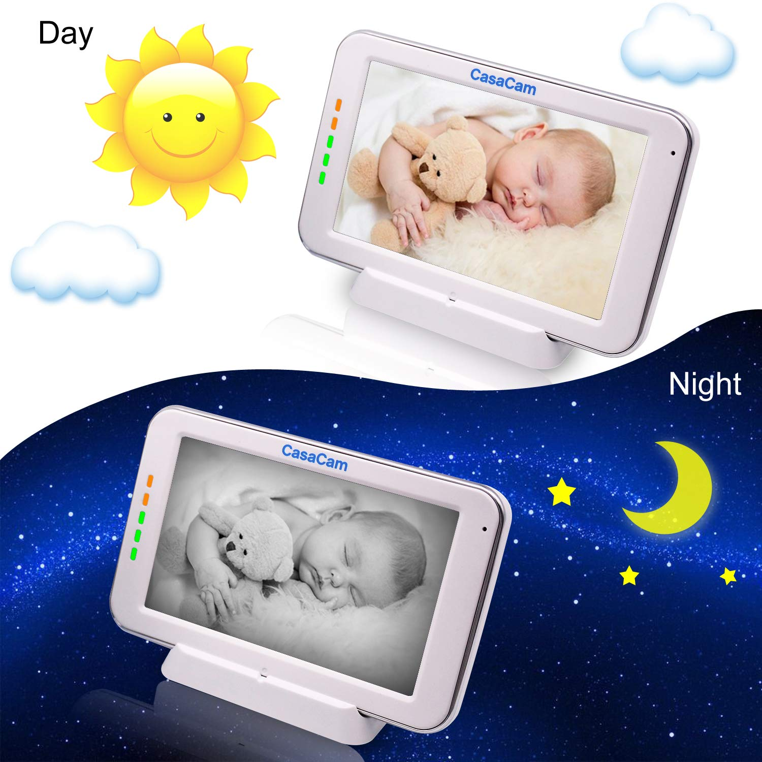 CasaCam BM200 Video Baby Monitor with 5'' Touchscreen and HD Pan & Tilt Camera, Two Way Audio, Lullabies, Nightlight, Automatic Night Vision and Temperature Monitoring Capability (1-cam kit) by CasaCam (Image #4)