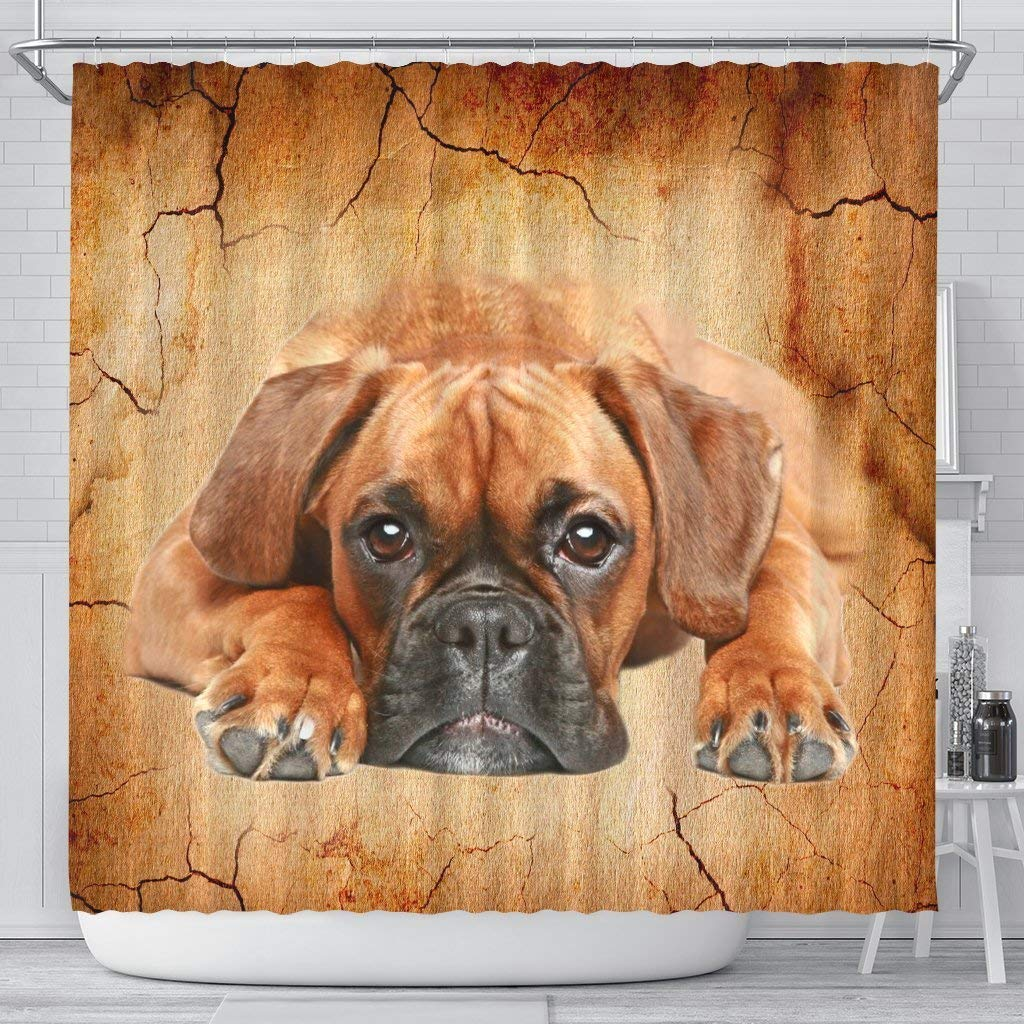 Boxer Dog Print Shower Curtains by Breedink
