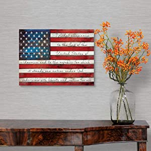 Tamengi Pledge of Allegiance Canvas Framed Wall Art Print, American Flag Home Decor 16
