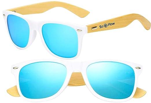 511e8d6ae5 Blue Neon Mirrored Polarized Wood Sunglasses Men Women Wooden Mirror Wayfarer  Bamboo White Frame UV-