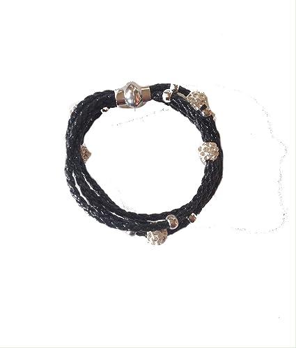 ee1f913af424 Pulsera Negro de piel sintética con cierre de imán