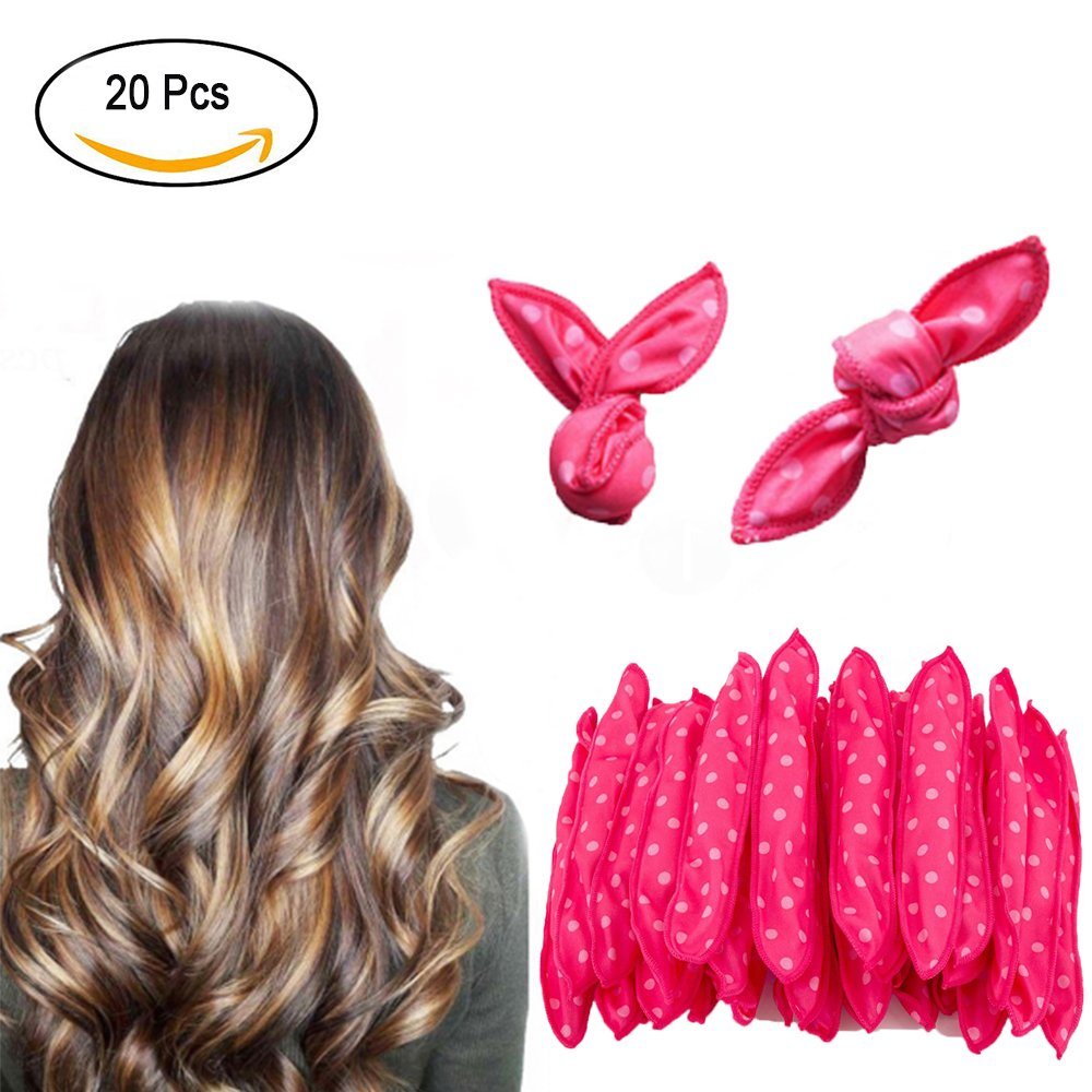 Zinnor Hair Curlers Rollers No Heat Damage Overnight Sleep Flexible Foam Sponge Hair Curlers Women Girl Magic Hair Curlers Without Heat Required for Long Short Medium Hair Home or Travel- Pink
