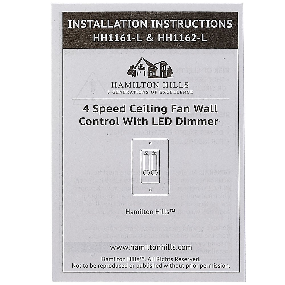 White 4 Speed Ceiling Fan Wall Control With Led Dimmer Light Switch Combo Power Enters At Box One Face Plate Included