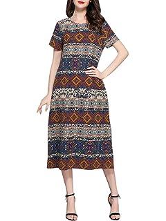 Plus Size Print Cotton Linen Dress Midi Casual Ladies Stripe With Pocket  H8916 M-5XL d4b4b9aa44e8
