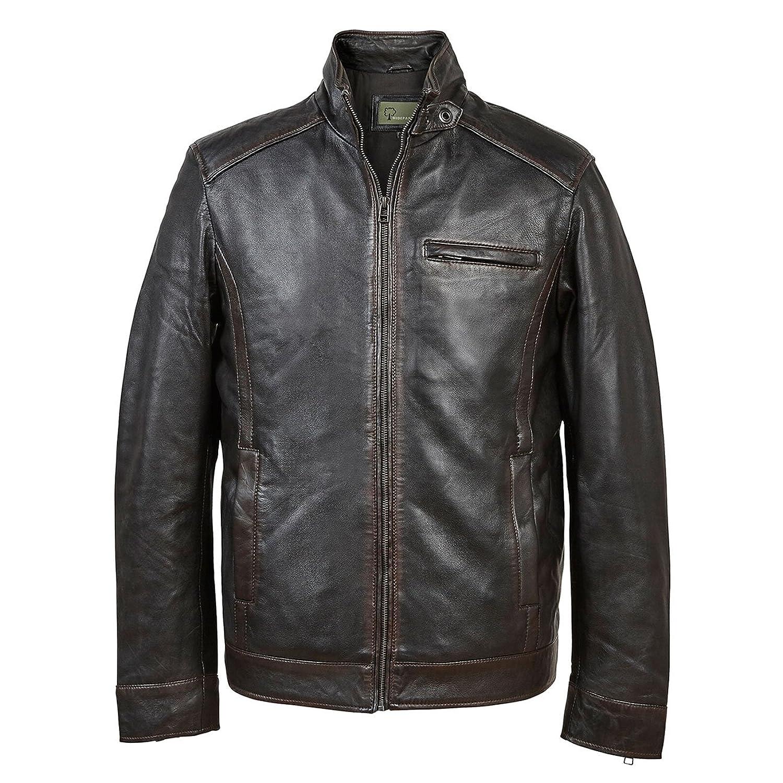 George: Men's Black Antique Leather Jacket