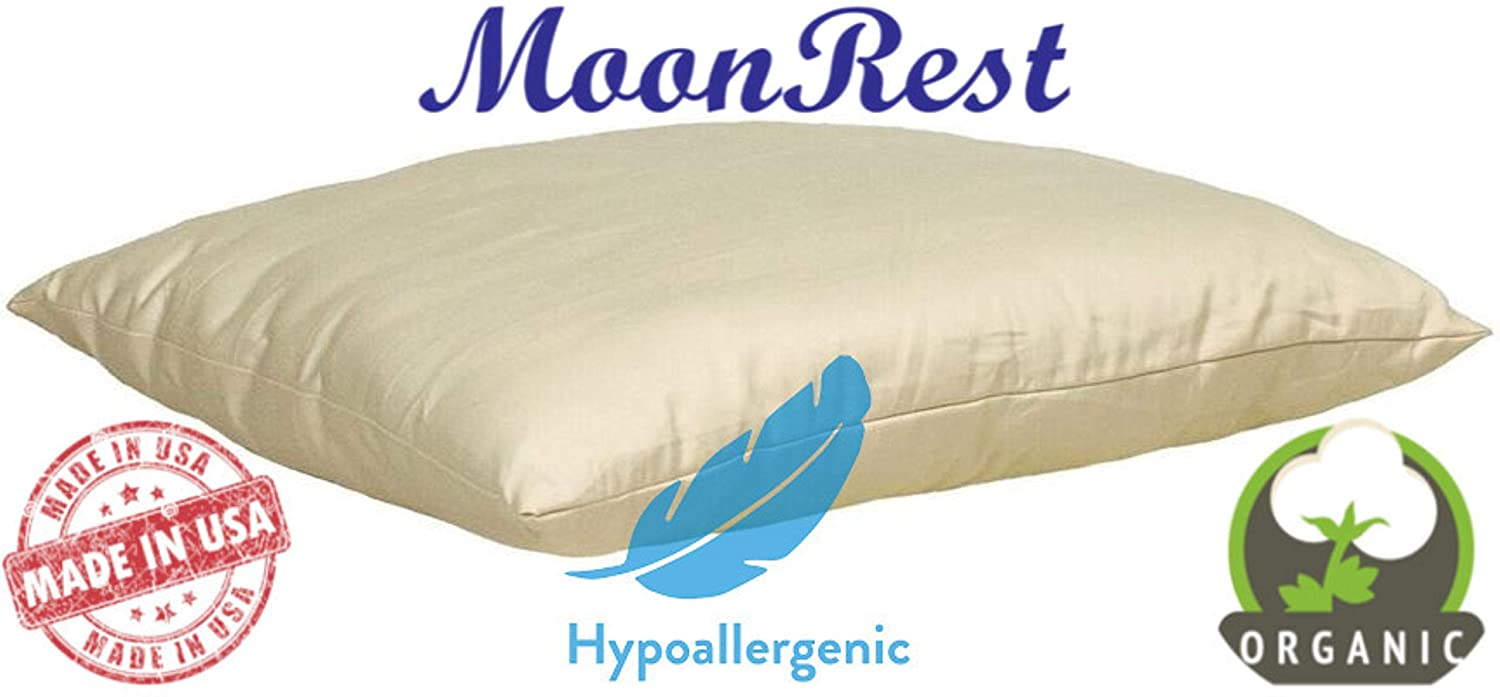 "MoonRest - Organic Toddler Pillow, Natural Fabric - Hypoallergenic Down-Like Fill - Toddler Pillow - 13"" X 18"""