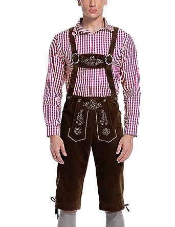 Lederhosen Mens Adult Brown Beer Fest Oktoberfest Costume Suspenders