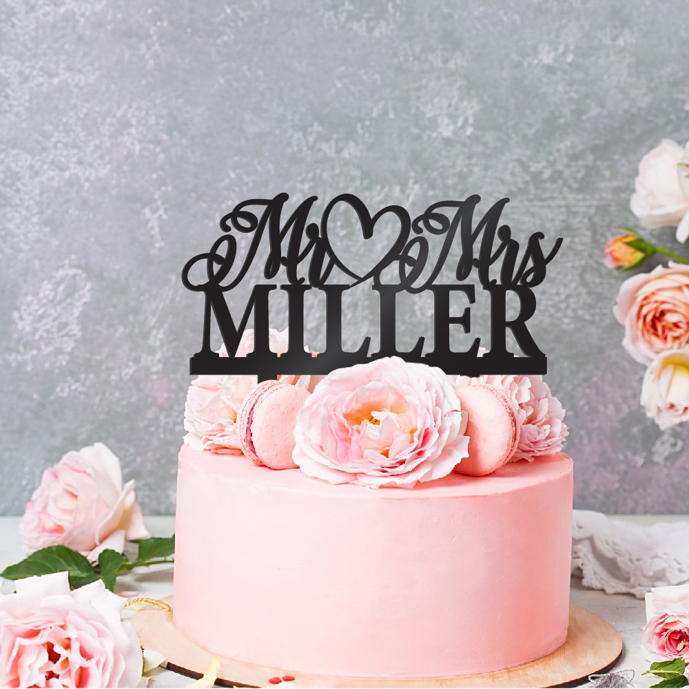 Personalized Wedding Cake Toppers Mr and Mrs Cake Topper - Bride and Groom Cake Toppers Wedding Favor | Custom Wedding Cake Topper (9 Different Colors) #W13