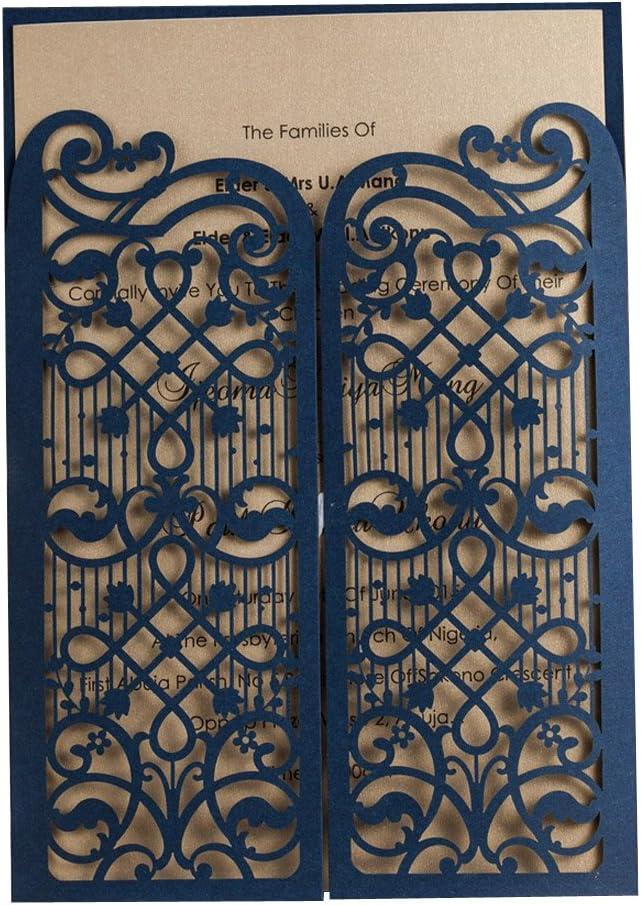 20X WISHMADE Kits de invitaciones de boda con corte láser Elegante Azul marino Puerta abierta para matrimonio Compromiso de ducha nupcial Diseño de puerta abierta Baby Shower Tarjetas de cumpleaños