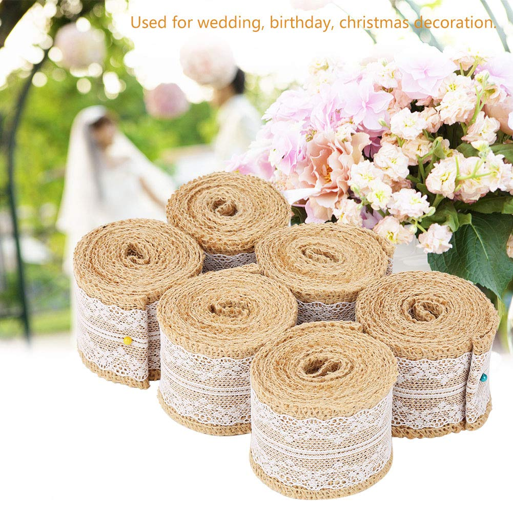 6Pcs Natural Jute Ribbon Burlap Jute Lace Burlap Ribbon Jute with Lace Vintage Rustic Wedding Decoration Ornament Party Wedding Decor 2M//Roll