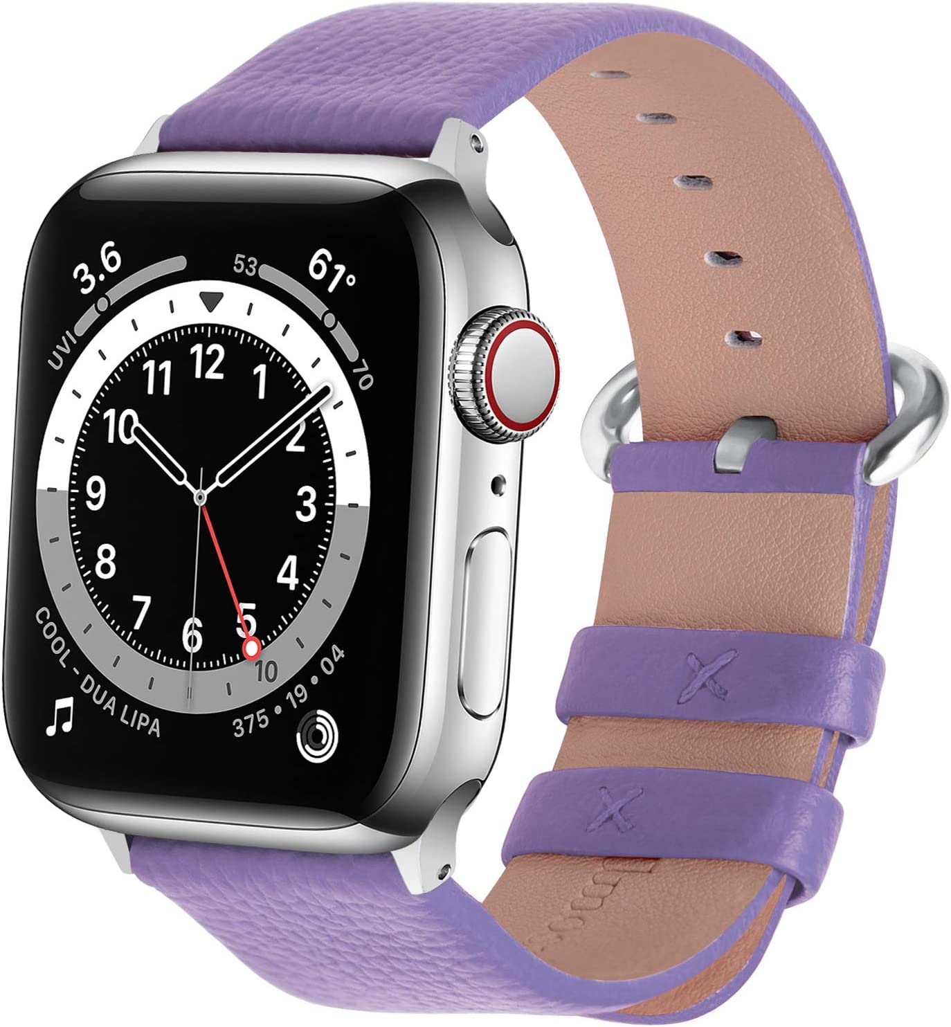 Fullmosa Compatible Apple Watch Band 38mm 40mm 42mm 44mm Calf Leather Compatible iWatch Band/Strap Compatible Apple Watch Series SE/6 Series 5 Series 4 Series 3 Series 2 Series 1,38mm 40mm Purple