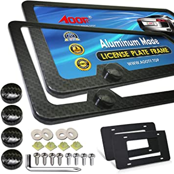 All-wearther Black Aluminum Metal Carbon Pattern Plate Holders US Standard Cars License Plate Covers 2Pcs for Front /& Rear License Number Tags SLOHEXTTED Cabon Fiber License Plate Frames