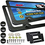 Aootf Carbon Fiber License Plate Frames - Aluminum Slim Size Black License Plate Covers, Front & Rear Holder with Stainless S