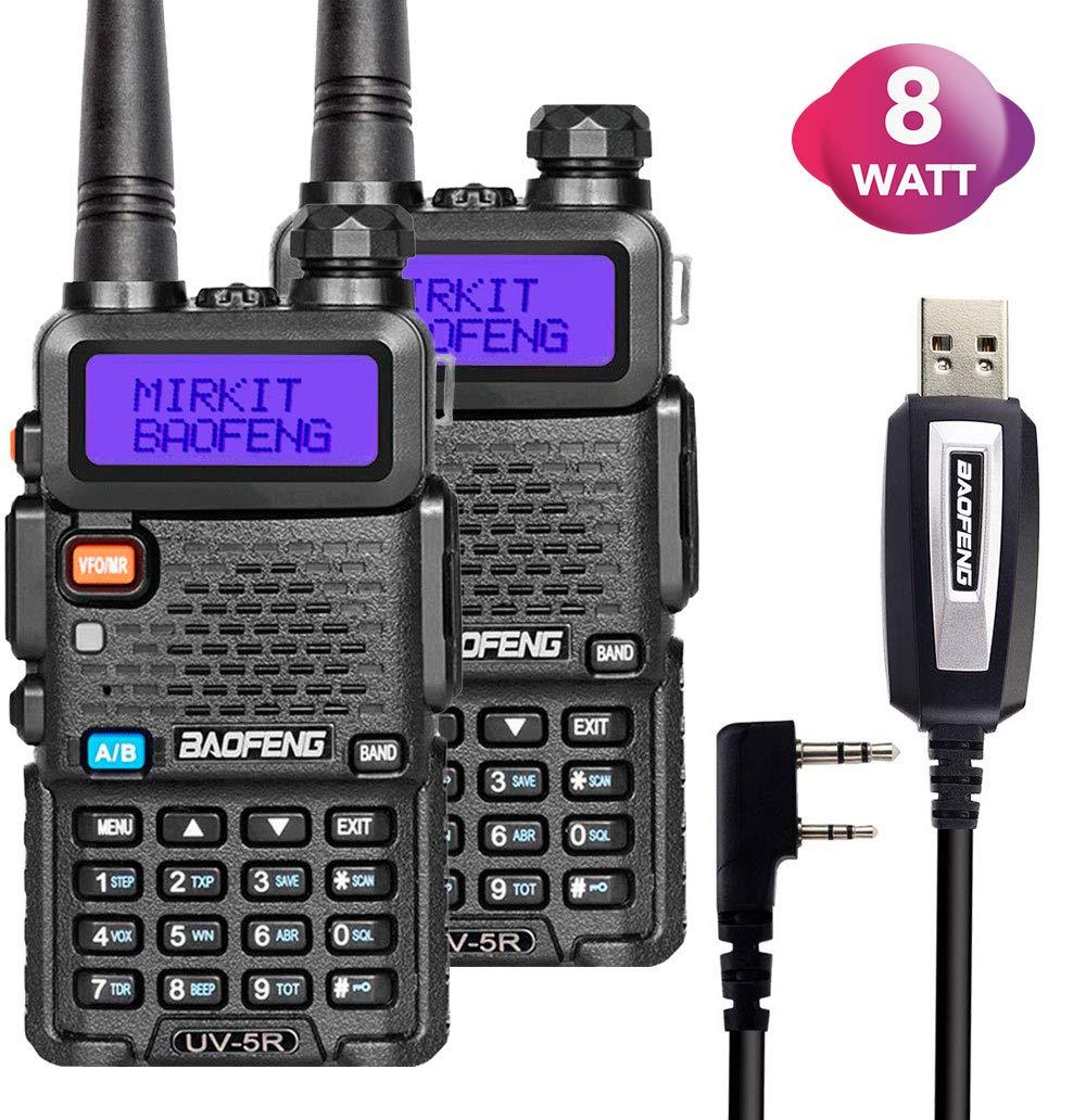 2 Way Radio Set Baofeng UV-5R Radio MK4 8 Watt MP Max Power with Baofeng Battery 1800 mAh Li-ion and Programming Cable for Baofeng UV5R Radios Mirkit Edition, USA Warranty