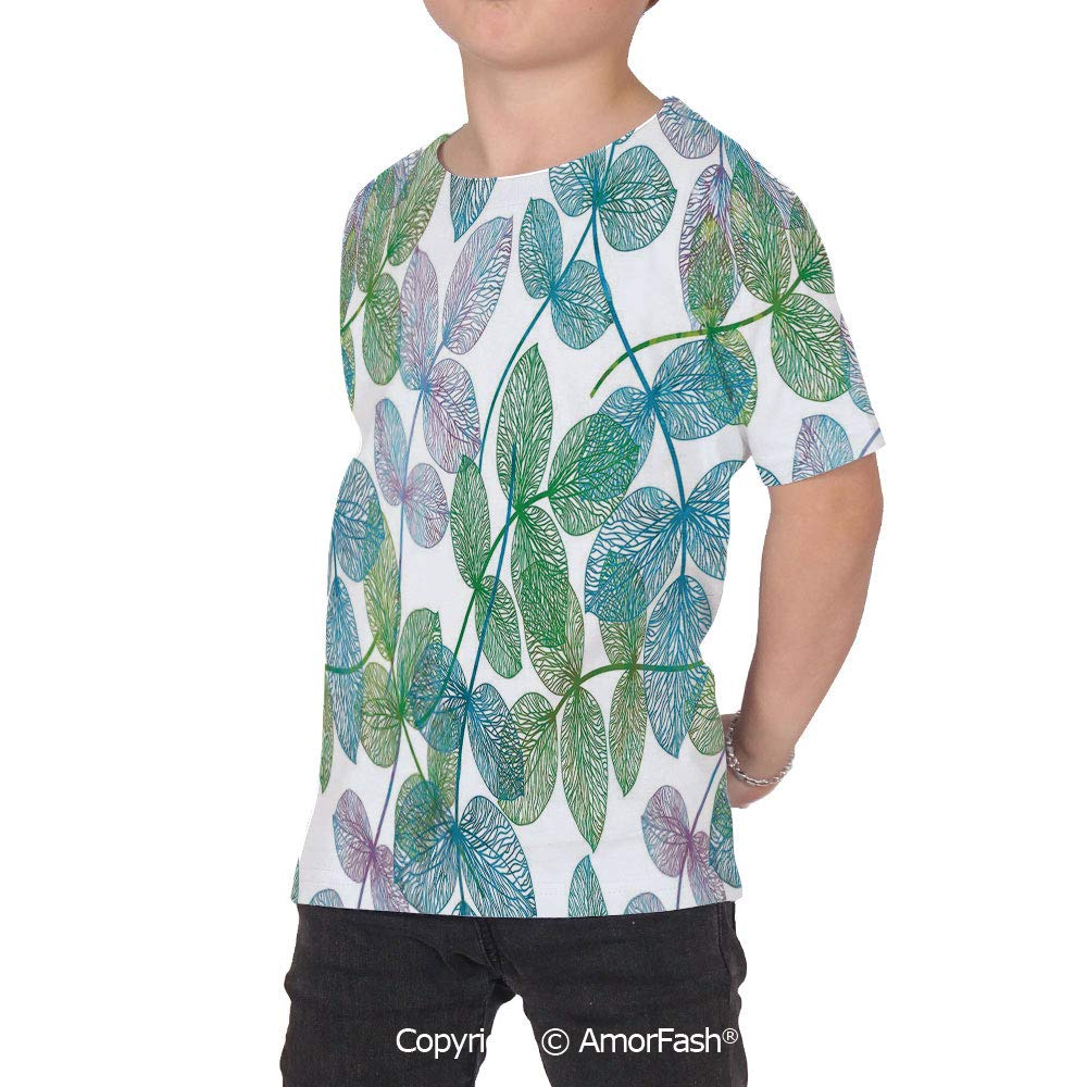 Floral Childrens Summer Casual T Shirt Dresses Short Sleeve,Flowers Leaves Ivy