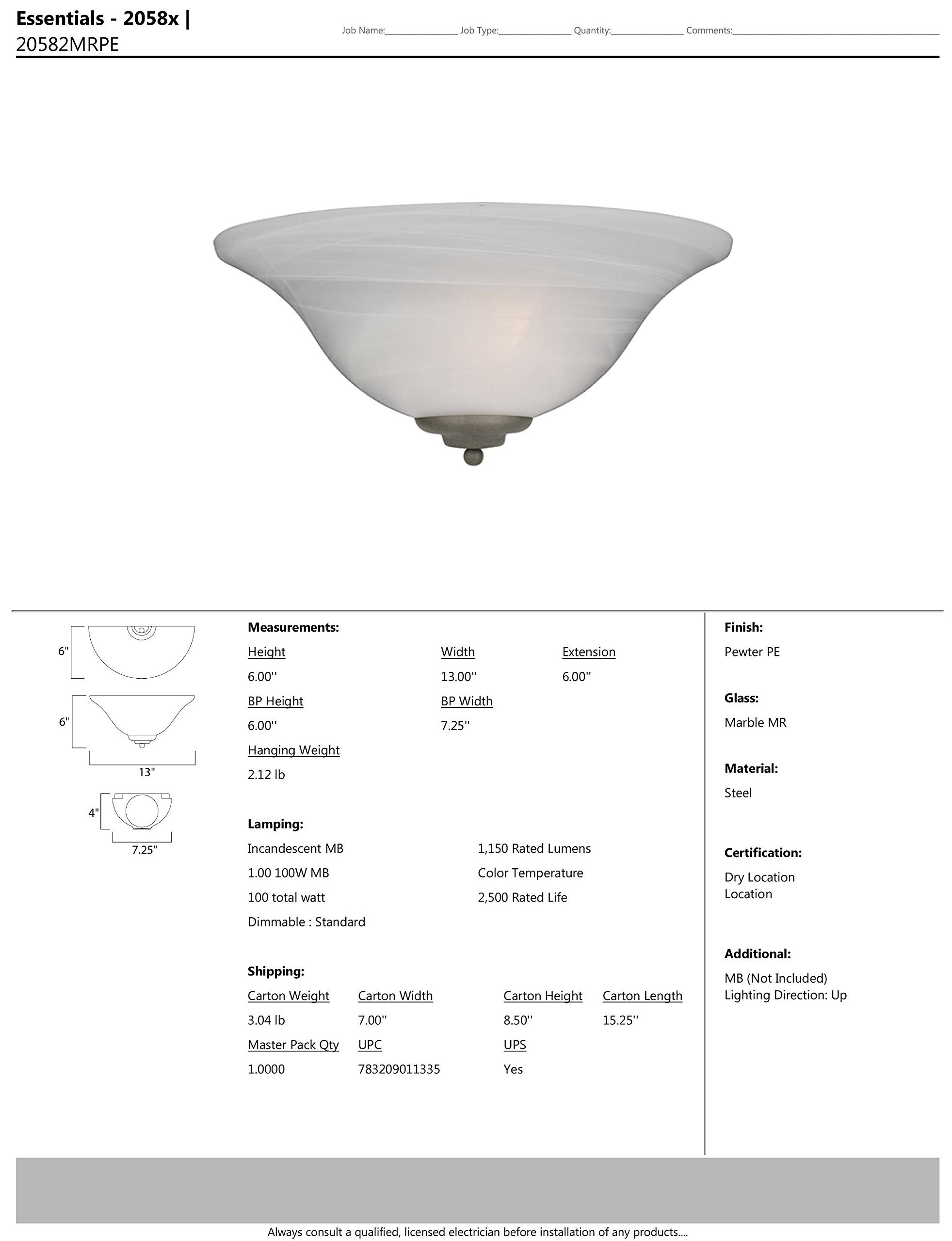 Maxim 20582MRPE Essentials 1-Light Wall Sconce, Pewter Finish, Marble Glass, MB Incandescent Incandescent Bulb , 40W Max., Dry Safety Rating, 2900K Color Temp, Standard Dimmable, Glass Shade Material, 9000 Rated Lumens by Maxim Lighting (Image #2)