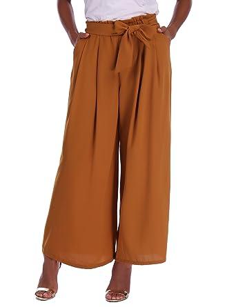 b9573a1d9c5 Abollria Pantalon Large Femme Palazzo Jambes Large Fluide Chic Evasé  Elastiqué Taille Haute Décontracté en Mousseline