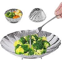 Steamer Basket Stainless Steel Vegetable Steamer Basket Folding Steamer Insert for Veggie Fish Seafood Cooking…