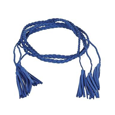 2d1d81a45157 Ceinture tressée suédine pompon bleu roi - Ceinture Femme - Ceinture Pompon  - Ceinture Bleu roi