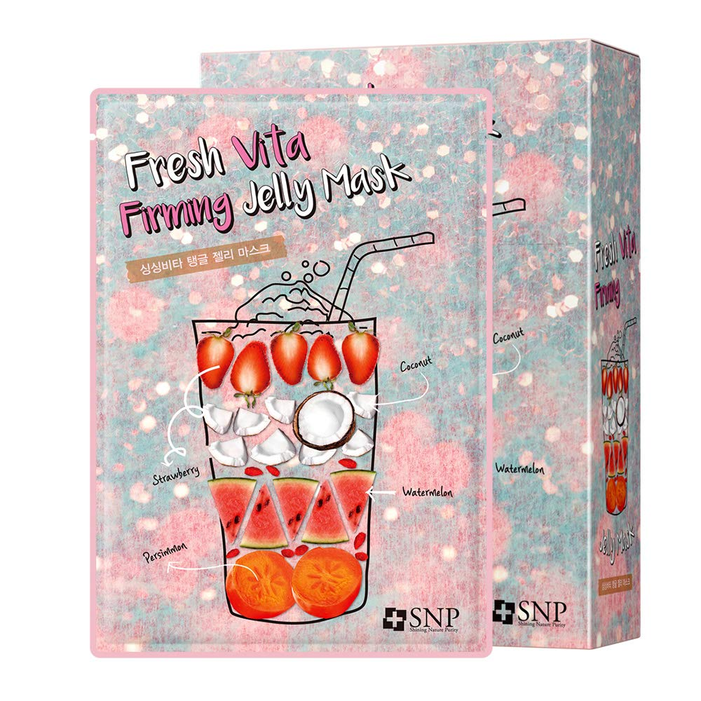 SNP - Fresh Vita Firming Jelly Korean Face Sheet Mask - Contains Vitamin A - 10 Sheet Pack