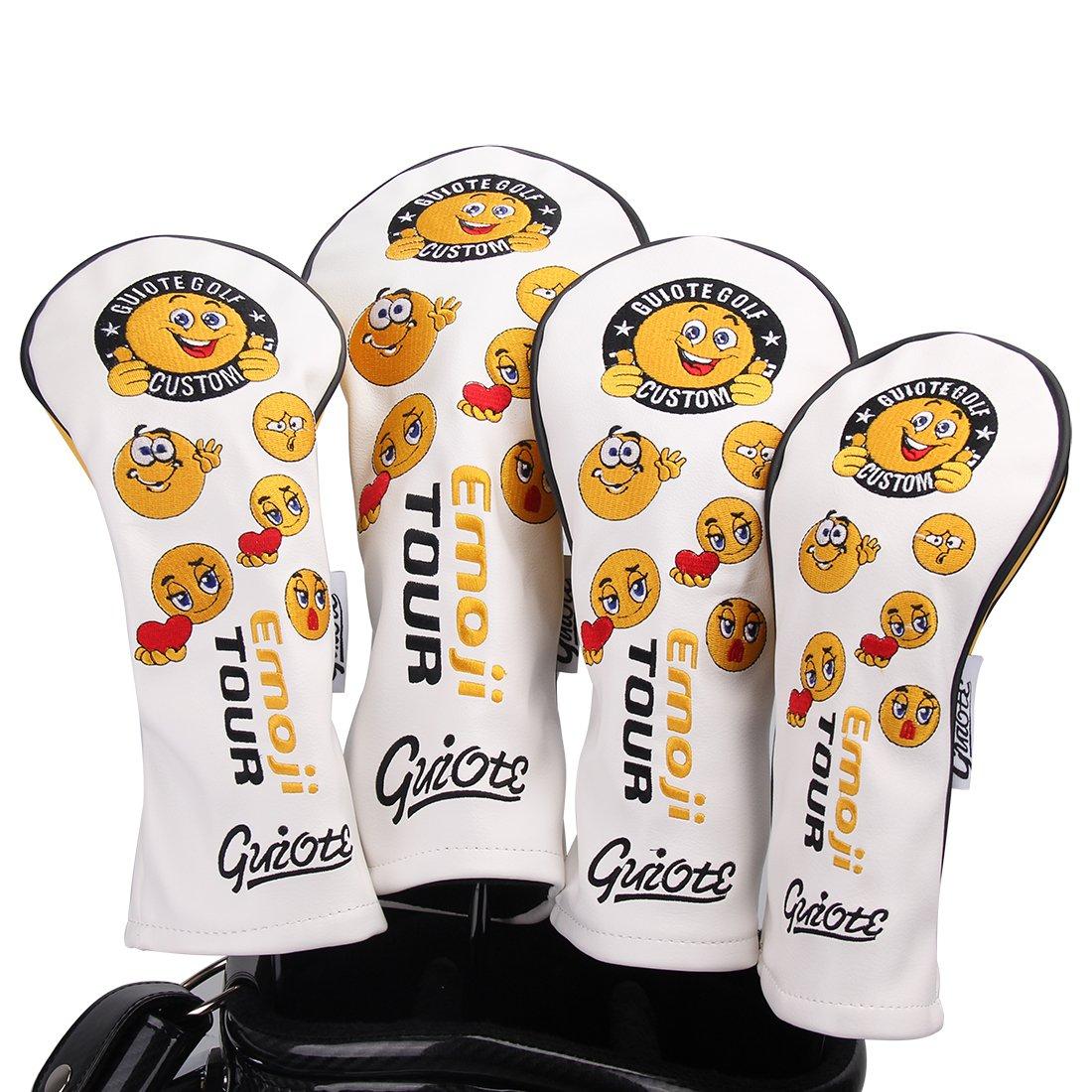 Guiote ゴルフヘッドカバー Golf head covers クラブヘッドカバー ウッドカバー ドライバー 新デザイン 交換可能な番号タグ付き(#2.#3.#4.#5.X) 4個セット B07CZ2JJ18 Emoji-white Emoji-white