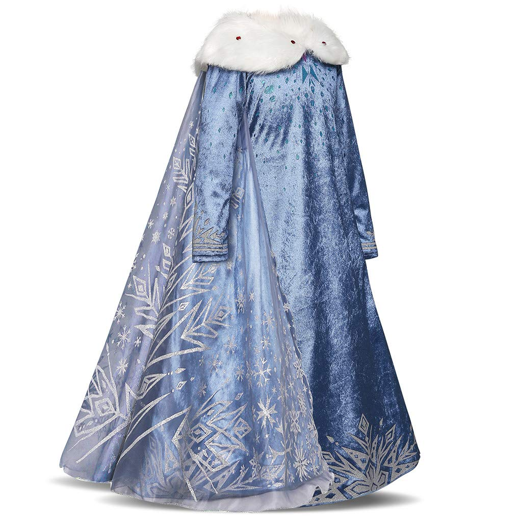 Sameno Kids Girls Cosplay Long Princess Dress 2-8t Faux Fur Lace Tulle Mantle Cloak Party Pageant Evening Ball Gown Maxi Light Blue by SamXmasBaby