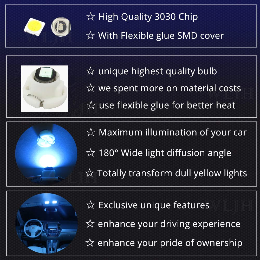 WLJH 10x Green T4.7 Neo Wedge Led 3030 SMD 12mm Base Led Car Instrument Cluster Led Dash Gauge Bulb HVAC AC Heater Climate Control Bulb Switch Lamps Radio Switch Interior Light Replacement