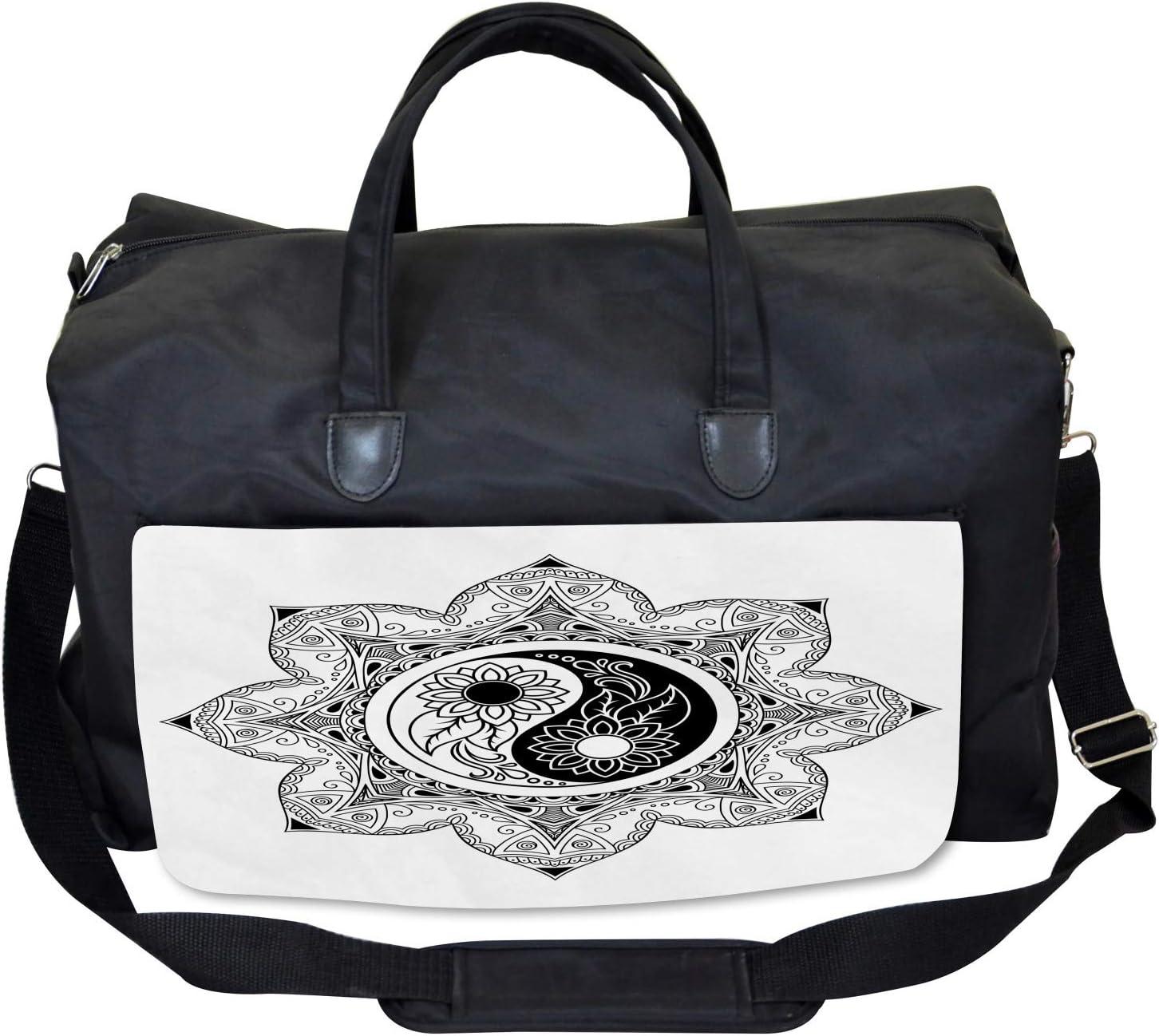 Ambesonne Ying Yang Gym Bag Boho Zen Mandala Sign Large Weekender Carry-on