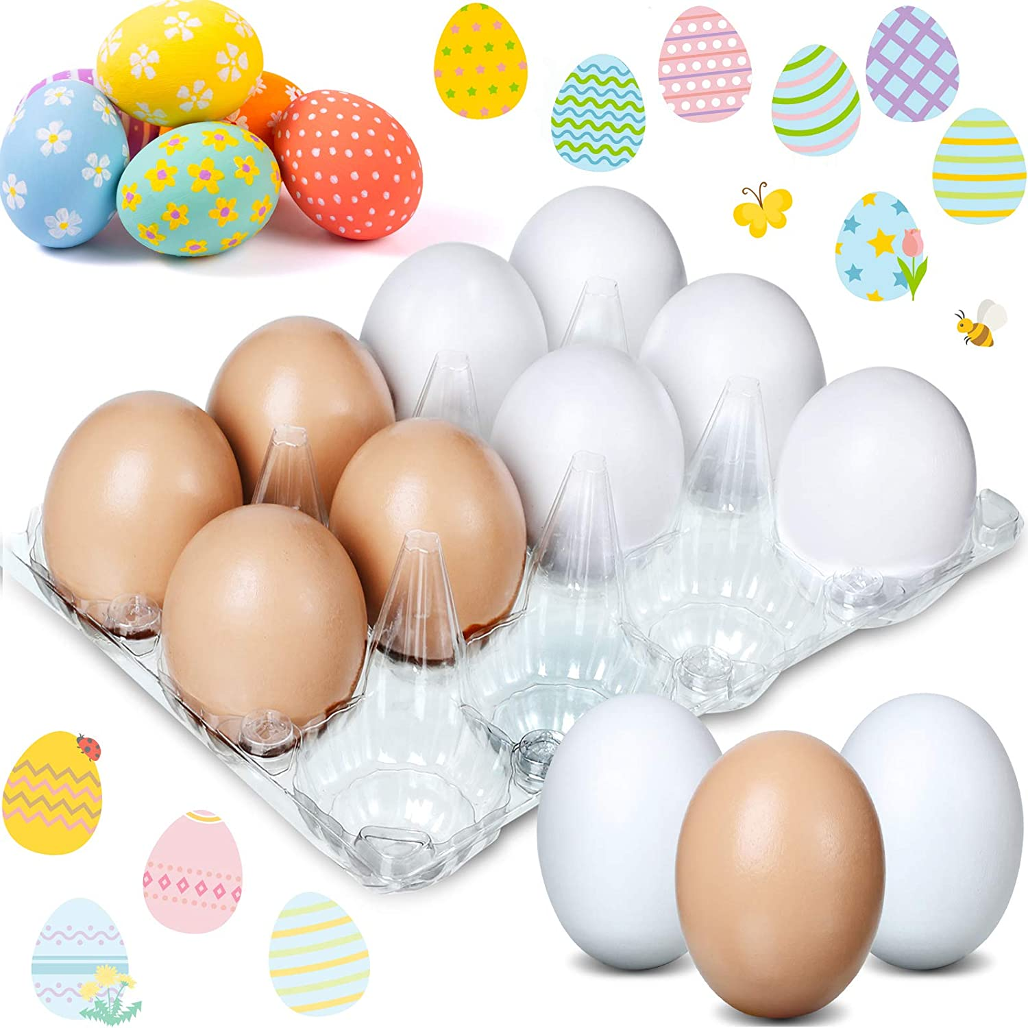 Sumind 12 Pieces Wooden Fake Eggs, DIY Easter Eggs, Faux Eggs Painting and Realistic Egg for Kitchen Game Food Toy, Easter Egg Hunt, Arts and Crafts Decor (Beige, White)