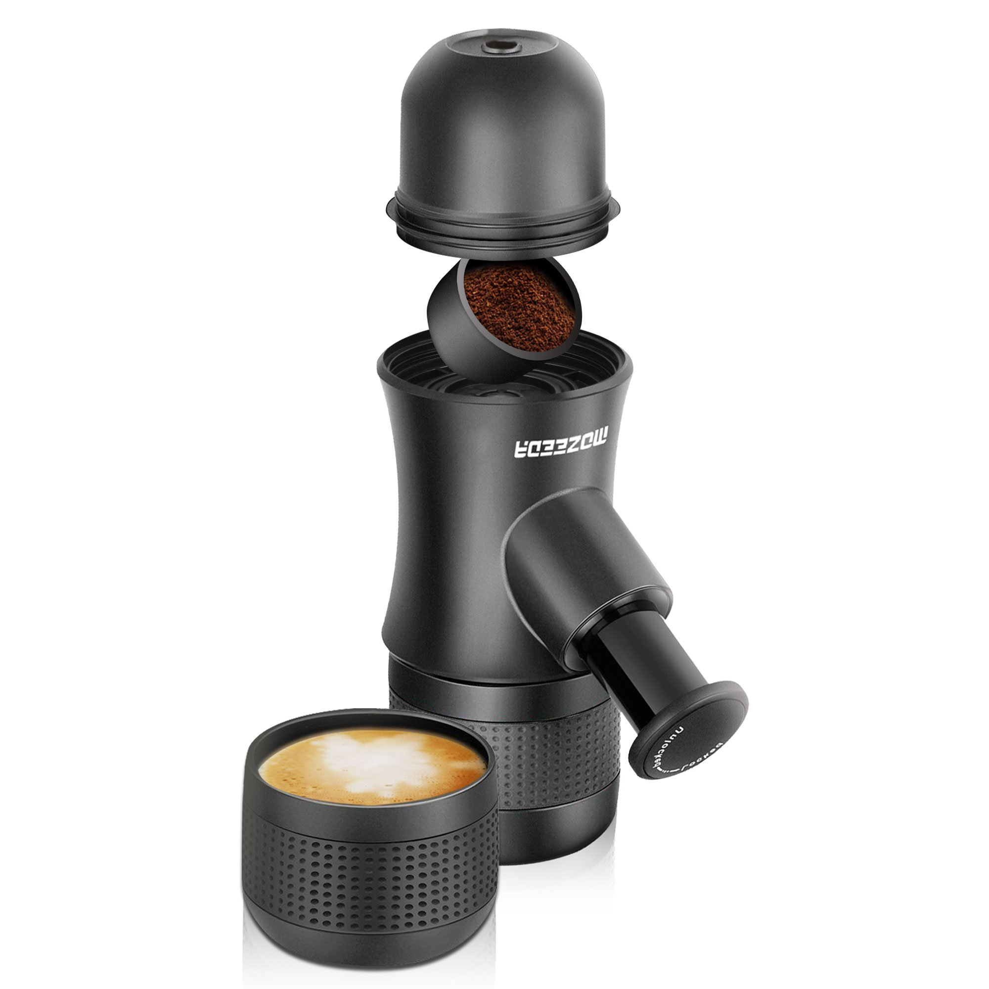 mozeeda Mini Espresso Coffee Maker Ground Coffee Machine, Hand Pressed Portable Coffee Maker for Travel Camping Office Home,BPA Free,FDA Certified Plastic Coffee Maker (Black)