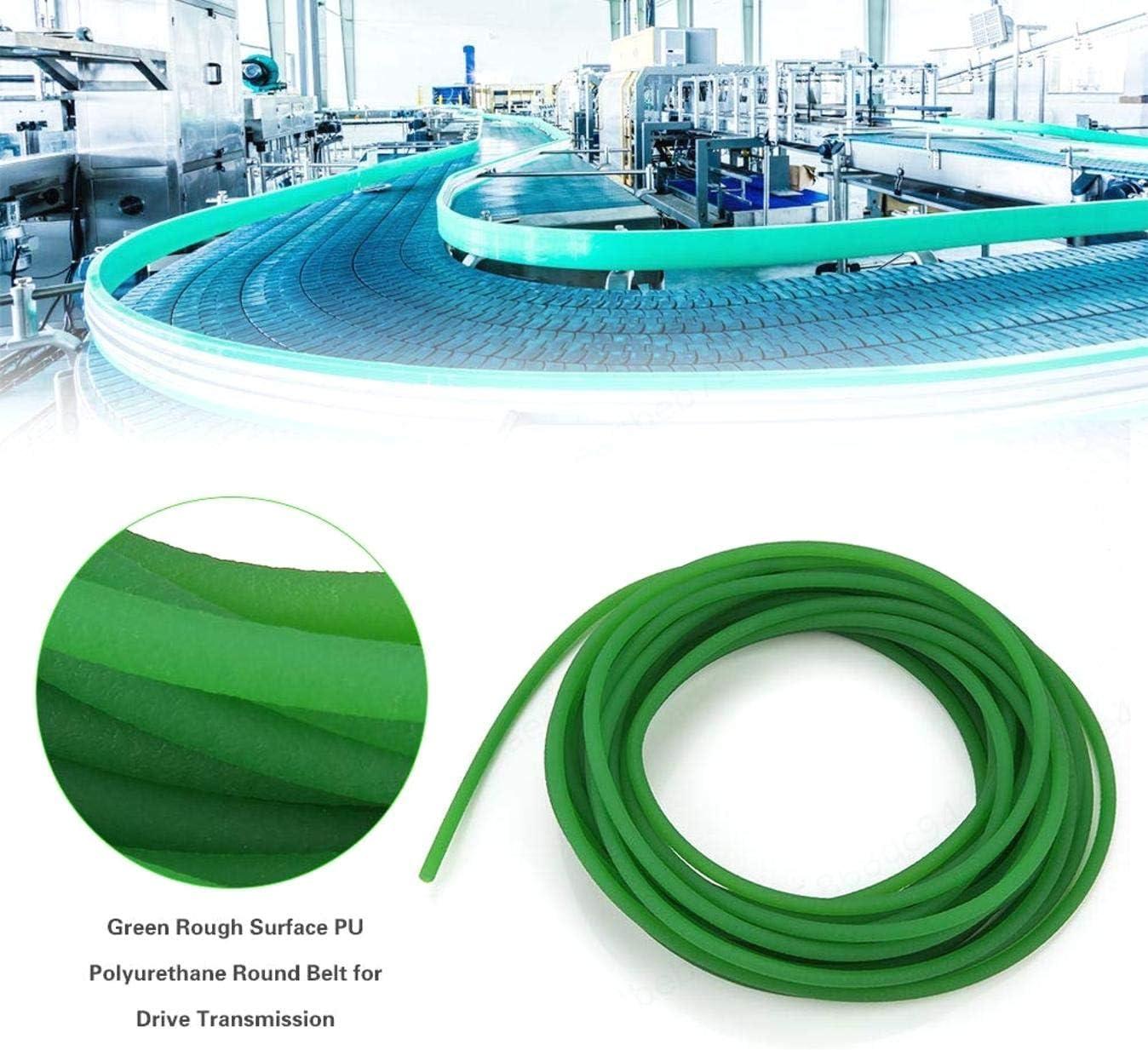 Correa Redonda de Poliuretano PU de Superficie Rugosa Verde LAQI Correa Redonda de Poliuretano de 5 mm 10 m para transmisi/ón de transmisi/ón