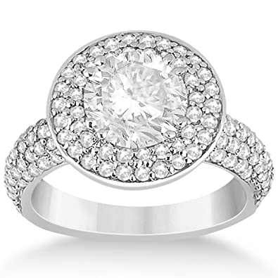 Wide Band Enement Ring | Double Halo Wide Band Diamond Engagement Ring Setting For Women In