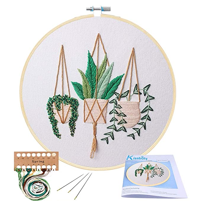 full-range-of-embroidery-starter-kit-with-pattern,-kissbuty-cross-stitch-kit-including-embroidery-cloth-with-plant-pattern,-bamboo-embroidery-hoop,-color-threads-and-tools-kit-(epipremnum-aureum) by kissbuty