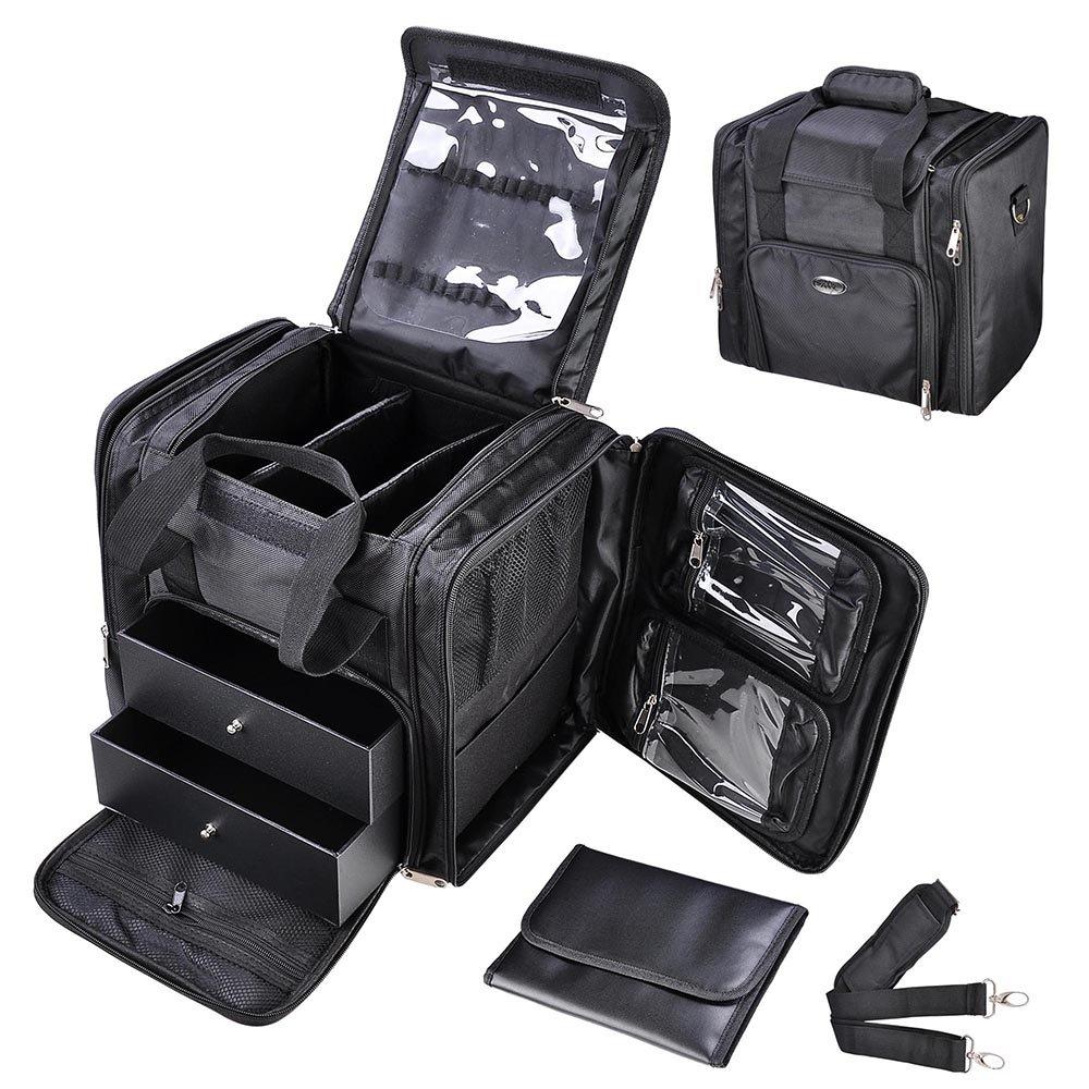 "AW 13"" 1200D Oxford Soft Make Up Train Case Bag Artistic Cosmetic Organizer Box Portable Professional"